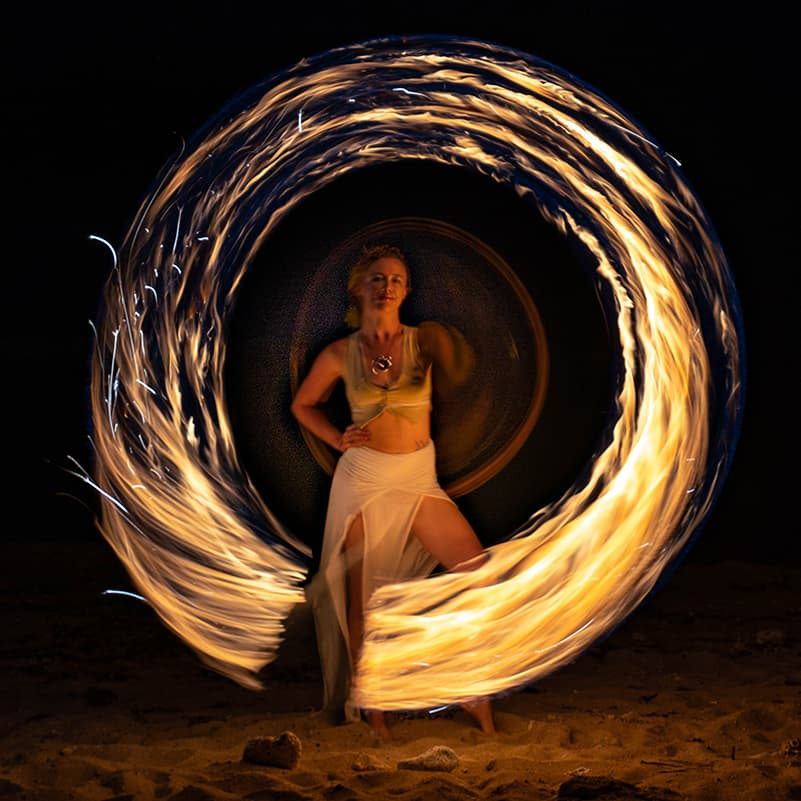 St. Croix Fire Dancer - Long Exposure Fire Cirlcle